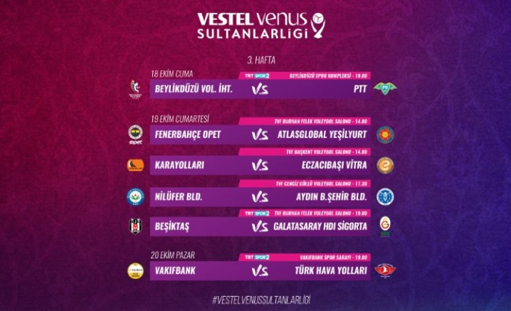 Vestel Venus Sultanlar Ligi'nde 3. Hafta Başlıyor